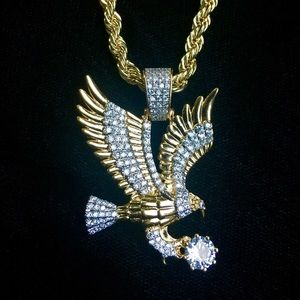 Other - EAGLE FULL DIAMONDS CZ 18K GOLD CHAIN ITALY!